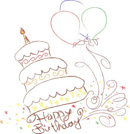 手描き落書きの誕生日ケーキのイラストです。  イラスト・ベクター素材