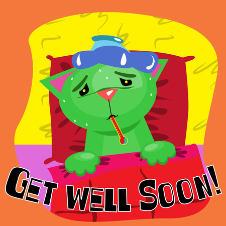 get: Get well soon card with cute sick cat.