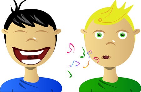 gentleness: A boy whistling while the another one laughing at him.