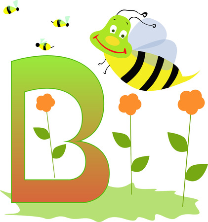 Illustration of alphabet letter B with a cute little bee and flowers isolated on white background.