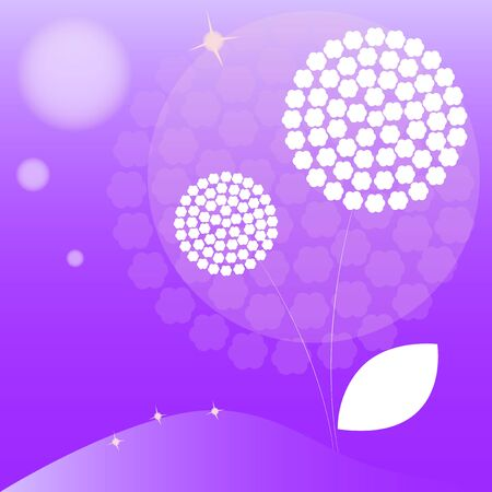 flimsy: Vector abstract doodle dandelion with purple background.