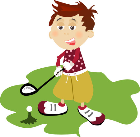 Illustration of young golf player on white background. Vettoriali
