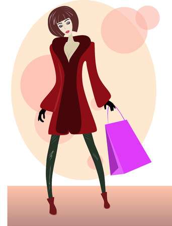 rn: Illustration of a cartoon girl with shopping bag.