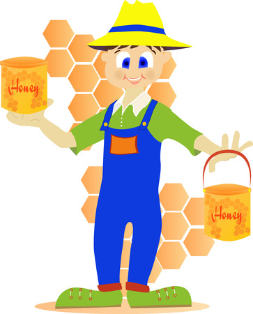 rn: Illustration of a beekeeper showing honey pot.