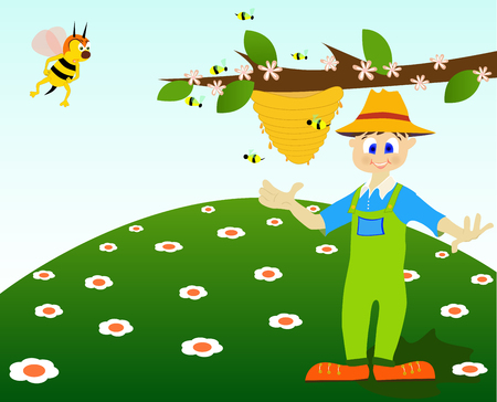 Illustration of a honey thief and an angry bee. Vector
