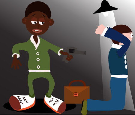 killer cells: Man pointing his gun to another man Illustration