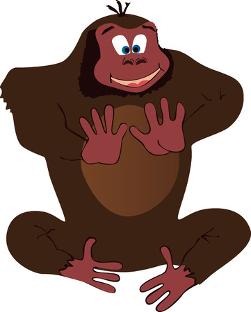 clapping: Vector illustrated funny gorilla clapping.