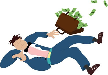 sky dive: Vector illustrated falling business man with briefcase with full of money