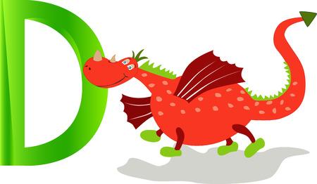 Cartoons alphabet, cute dragon with the letter d. Vector