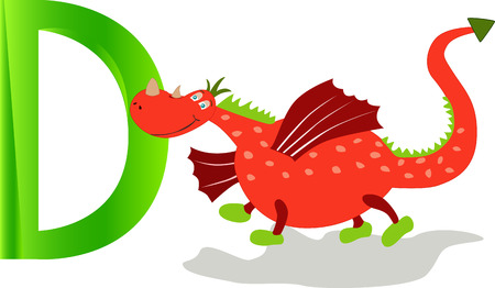 cute dragon: Cartoons alphabet, cute dragon with the letter d.