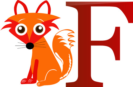 Cartoons alphabet, cute fox with the letter f. Vector
