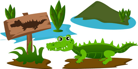 swamp: Cartoon crocodile in the swamp with warning sign.