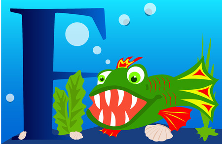 colorful fish: Cartoons alphabet letter F with colorful fish.