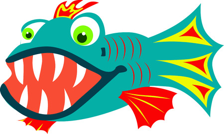 colorful fish: Cartoon colorful fish with big sharp teeth. Illustration