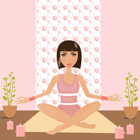 lotus position: Pretty woman doing yoga in lotus position.