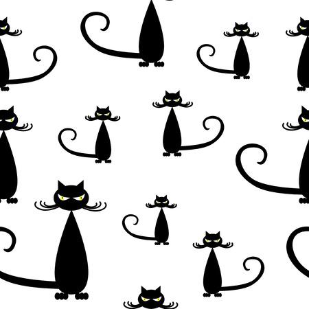 Seamless pattern of silhouette stylish black cats. 일러스트