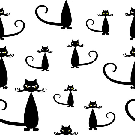bad luck: Seamless pattern of silhouette stylish black cats. Illustration