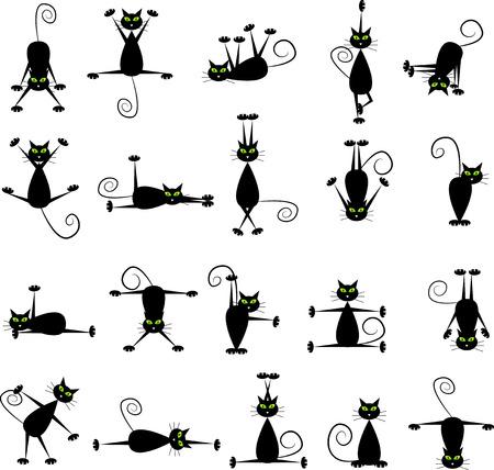 Set of black cats doing yoga and gymnastics.