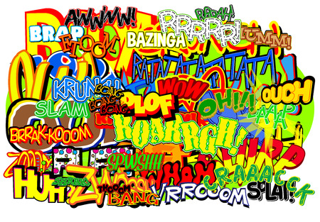 Vector abstract retro background with comic book words. Vettoriali