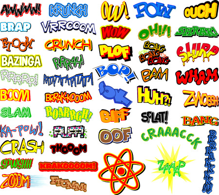 cartoon bomb: Vector retro comic book word collection with fortyfive expression. Illustration