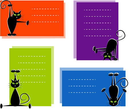 Set of labels with cute black cats doing gymnastics. Vector