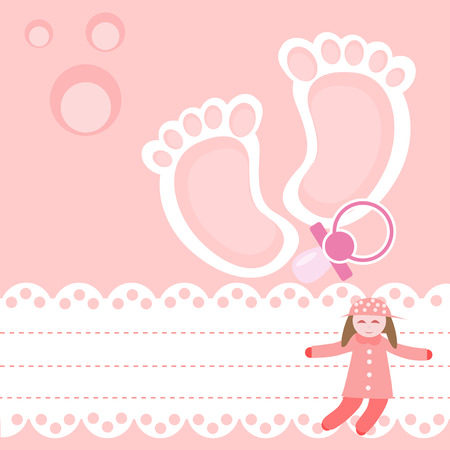 special moments: Baby shower card with pacifier and ragdoll.
