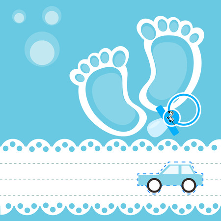 special moments: Baby shower card with pacifier and toy car Illustration