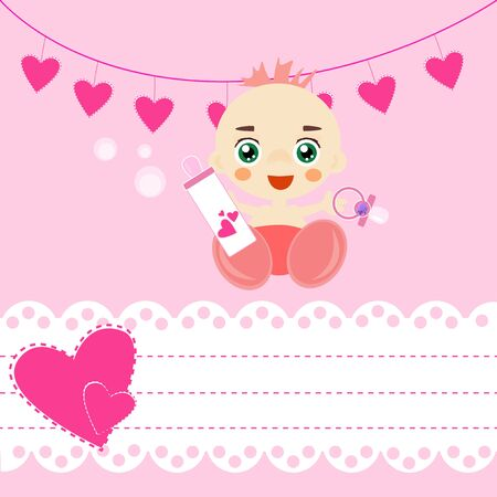 Baby shower card with pacifier and bottle of milk. Vector