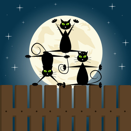 Black cats doing yoga on a fence.