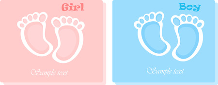 special moments: Two baby shower card with cute baby soles.