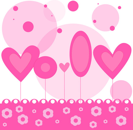 Vector illustrated pink forest background with heart like trees. Vector