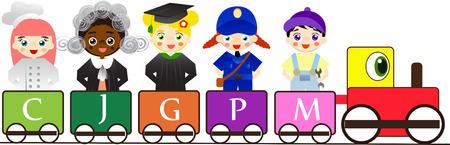 diferentes profesiones: Diferentes profesiones para los niños en el tren colorido.
