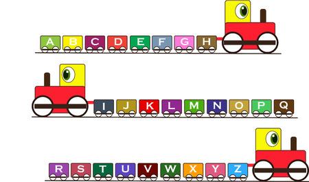 tren caricatura: Vector ilustrado tren abc con colorido carro.