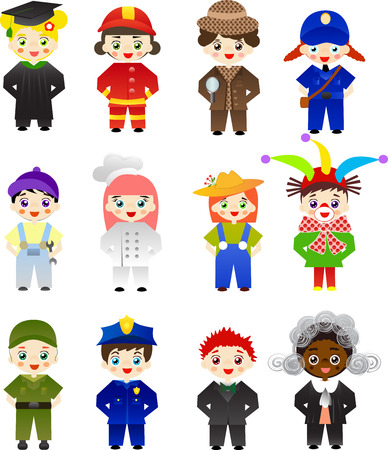 fireman: Set of kids with different professions on white background.