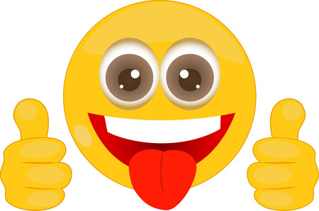 social behaviour: Illustration of cartoon smiley with thumbs up.