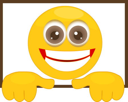 Illustration of cartoon smiley in a frame.