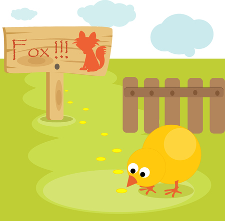 Cartoon young chick in the yard with warning sign. Vector