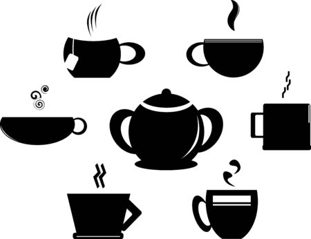 Set of coffee cup and sugar bowl. Vector