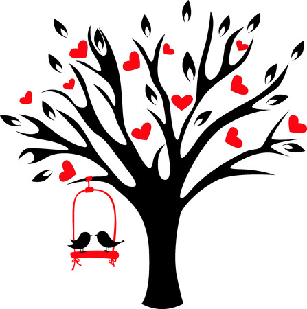 Lovely birds swinging on decorative tree with hearts. Stock Illustratie