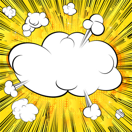 Blank cloud retro style comic book background.