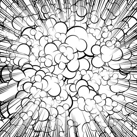 Cloud retro style comic book background.