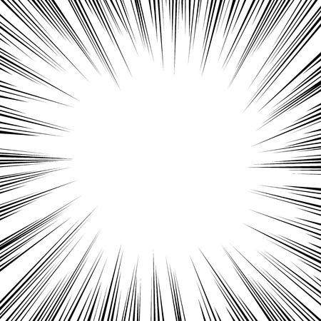 Black radial speed lines on white vector comic book element. Vettoriali