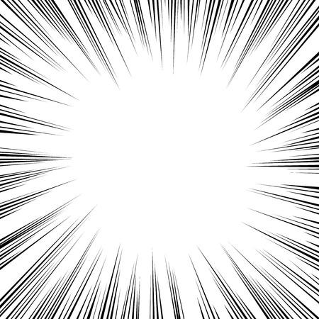 Black radial speed lines on white vector comic book element. Illustration