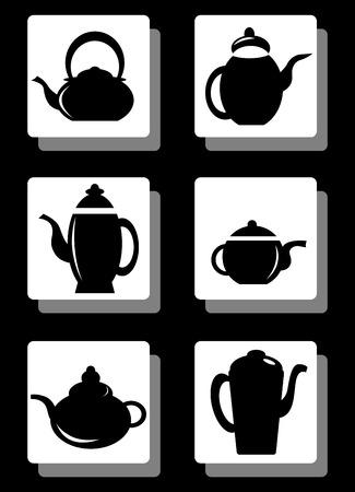 kettles: Conjunto de calderas cafetera aislados en cajas negras.