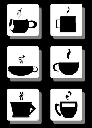 Set of coffee cups isolated in black boxes. Vector