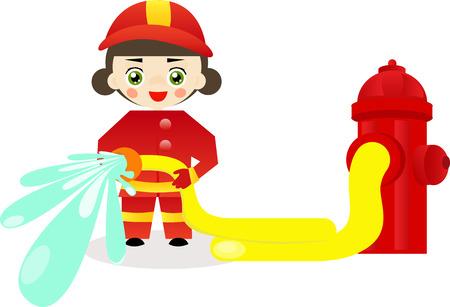 inspector: Little firefighter girl holding a fire hose.