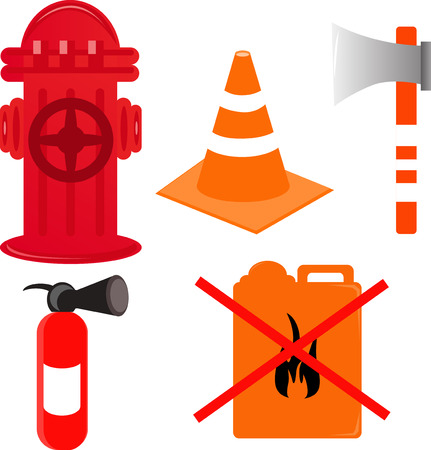 barrage: Vector illustrated set of firefighter elements.