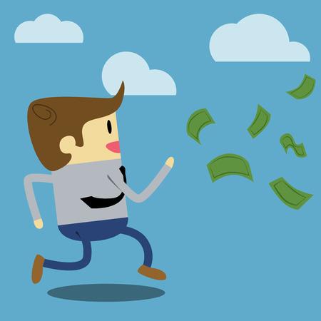 flying money: Cartoon businessman running after flying money bills. Illustration