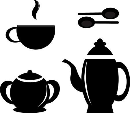 teaspoon: Set icon teapots teacups teaspoon and sugar bowl. Illustration