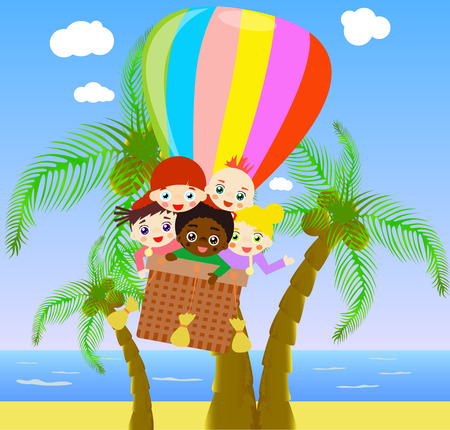 from above: Illustration of children flying with air balloon above beach.